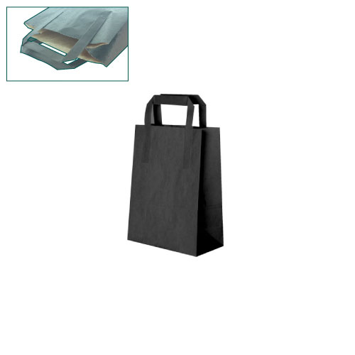 Paper Bag-Black-Small(Flat Handle)