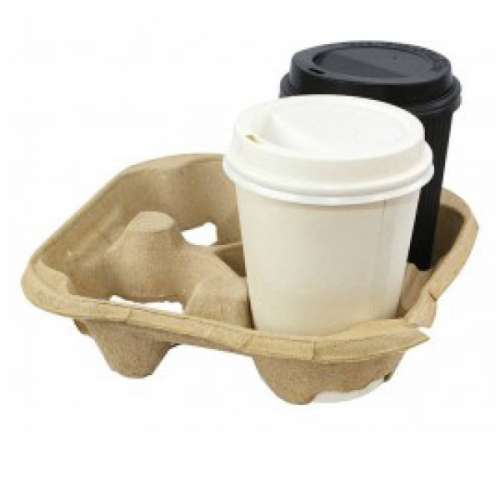 Hot Cup Holding Tray Sugarcane 4 Cups 18.5×22.5x5Cm-50psc